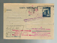1946 Poland Red Cross Postcard Cover to France Research and Reparations Bureau