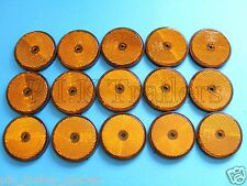 FREE P+P* 15 x AMBER Screw on 60mm Round Reflectors - Trailers & Horse Box