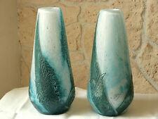 Paire de vases signés LEGRAS dégagé à l'acide décor volatiles et volutes n°235