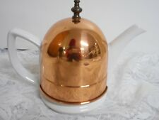 Vintage White Ceramic Tea Pot Kettle with Insulated Copper Cover Display
