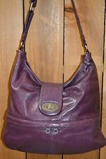 CHRISTOPHER KON Purple Leather Tote Satchel Shoulder Bag Distressed Boho Purse