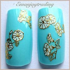 Nail Art 3D Decals/Stickers White Flowers Gold Edging #159