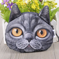 Womens Girl Cute Cat Mini Purse Wallet 3D Print Money Coin Change Bags Case Card