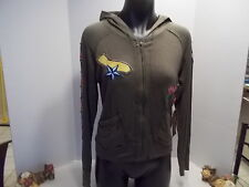 "S LINE HOODIE MILITARY STYLE W EMBROIDERED PATCHES L BUST 40"" RAYON SPANDEX NEW"