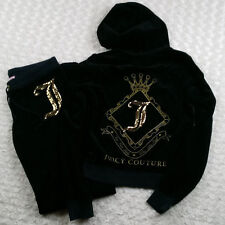Juicy Couture Black Velour Jogging Track Suit M Gold Glitter/Sequins Bling
