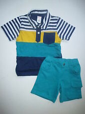 Gymboree Beach Buddies Stripe Polo Shirt Teal Shorts Set Boys 2T 3T NEW NWT