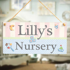 Baby Nursery Plaque - Personalised Baby Name Handmade Wooden Door Sign Gift