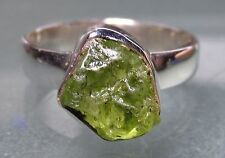 Sterling 925 silver rough green peridot stone ring UK M½-¾/US 6.5-6.75