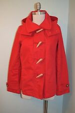 Nautica Red S Small Cotton twill Toggle Hooded Coat Jacket Excellent