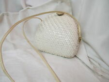 Vintage Italy Rodo white Clamshell style woven wicker Purse