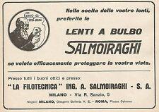Z0572 Lenti a bulbo La Filotecnica Salmoiraghi - Pubblicità del 1930 - Advertis.