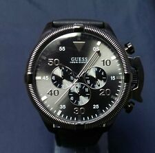 Guess U0480G4 Men's Black Leather Band Oversized Chonograph Watch SOLD OUT! RARE