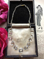 Antique Vintage 1920s Art Deco Cut Glass Clear Crystal Necklace Bridal. Gift Box