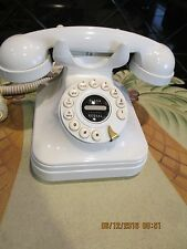 Art Deco,Vintage Style,Push Button Phone,White,W/Flash/Redial