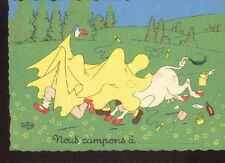 Albert DUBOUT Illustrateur cpa 1957 Vache Camping Humou