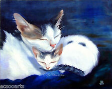 Original Oil Painting Expressionism 2 Cats Cuddled Together, 2000-Now, Artist