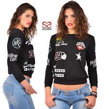 Felpa donna maglia maglietta giacca maglione pullover maniche lunghe casual 600