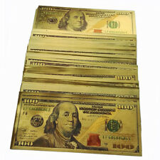 100pcs 1:1 New Style U.S $100 24K Gold Foil Color Shining Money Banknotes Crafts