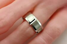 935 Argentium Sterling Silver wedding band ring satin 8mm sz 10 comfort fit new