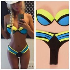 New NEON Bandage Push up Strapless Bikini Set Swimsuit sizes 6-8