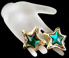 EUC Vintage GIVENCHY PARIS Emerald Green Star Gold-Tone Clip-On Earrings