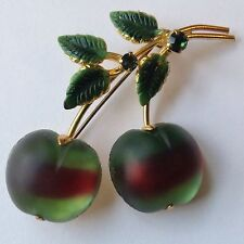 VINTAGE AUSTRIA SIGNED MOLDED CHERRY FRUIT RHINESTONE BROOCH P8