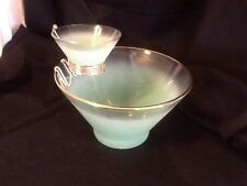 West Virginia Glass Blendo Frosted PASTELS Green Chip & Dip Set w/ Bracket - A+