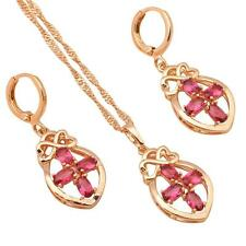 JS480 Ruby Fashion jewelry set for Women 18k gold Filled Earring Necklace
