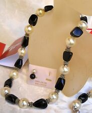 BI-COLOR MAJORCA/MALLORCA PEARL NECKLACE BLACK ONYX ROCK /WHITE faux majorica