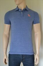 NEW Abercrombie & Fitch Destroyed Classic Cotton Pique Moose Polo Shirt Blue S
