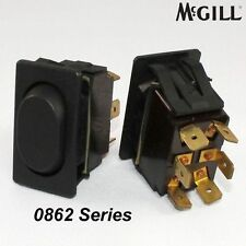 McGill 0862 On/Off/On Rocker Switch Black DPDT