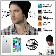 Joggers Unisex Winter Beanie Hat With Built In Headphones Universal 3.5mm Jack