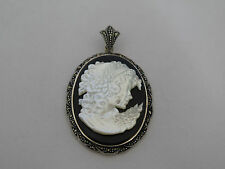 Designer Sterling & Marcasite Carved Mother of Pearl Cameo Pendant