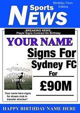 Fútbol Personalizado De Sydney FC Tarjeta de felicitación de cumpleaños añadir foto nombre edad