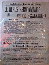 Affiche CGT Confédération Générale du Travail Le Repos Hebdomadaire Loi