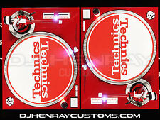 2 custom red & white Technics SL 1200 mk2's with white/red leds & DHC STR8 Arms