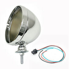 """Chrome 7"""" Headlight Bucket With Pigtail Connector For 7"""" Round Headlight"""