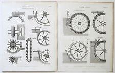 1817 & 18-19 ruote idrauliche superata undershot NAVETTE 2 antico stampa ETR