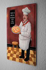 Tin Sign Food Restaurant Decoration  Pizza Chef Barstool  Metal Plate
