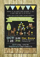 Woodland Forest Friends Printed Personalized Chalkboard Baby Shower Invitation