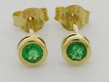 E072- GENUINE 9ct Solid Gold NATURAL Emerald Round Bezel Stud Earrings