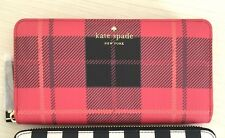NWT Kate Spade Fairmount Square Cherry Red Plaid Lacey Neda Wallet Limited Edt