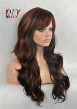 "Wavy Brown Diy-Wig Hot 23"" Long Mix Curly Wig Heat Cos Daily Wear Full Hair 4-30"