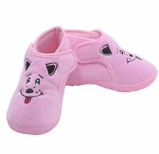 Little Girls Pink Puppy Slippers with Rubber Soles Little Girls Size 12