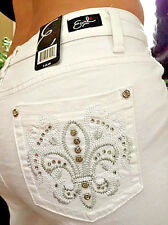 Woman's EARL JEANS CAPRI White Embroidered Bling Pockets 12P Sexy, Cool, Cute!