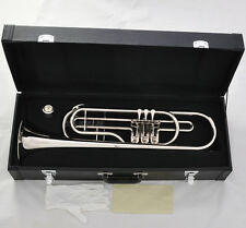 Professional Rotary Valves Bass Trumpet Bb Silver horn New case