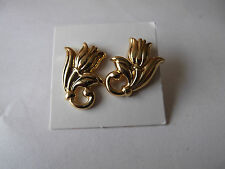AVON SPRING TULIP PIERCED EARRINGS W/SURGICAL STEEL POSTS GOLDTONE