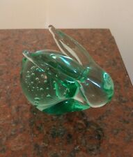 Collectible Rabbit Glass Controlled Bubbles Paper Weight Green.