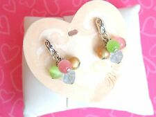 Brighton Earrings Mimosa Pastel Beading Silver tone Petite Hoops Post NWT