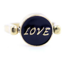 Stile vintage RUOTABILE BIADESIVO ORO NERO SMALTO LOVE DREAM anello UK M US 6